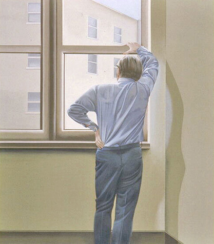 Man III (1973), a painting by Marielouise Kreyes, that depicts a rear view of a man looking out a window
